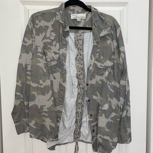 Distressed camo button down flannel design